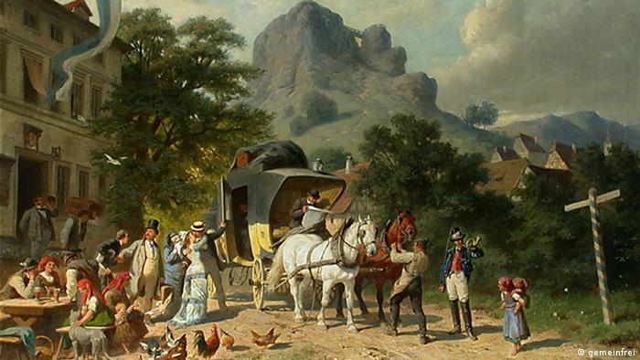 A painting shows a horse-drawn carriage and a number of people crowded around it Source: Wikipedia