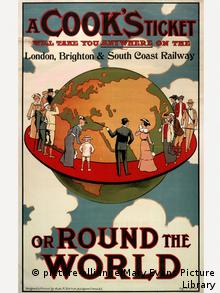 A poster or handbill advertising the fact that a Cook's ticket will take you anywhere on the London, Brighton and South Coast Railway, or round the world. (Mary Evans Picture Library)