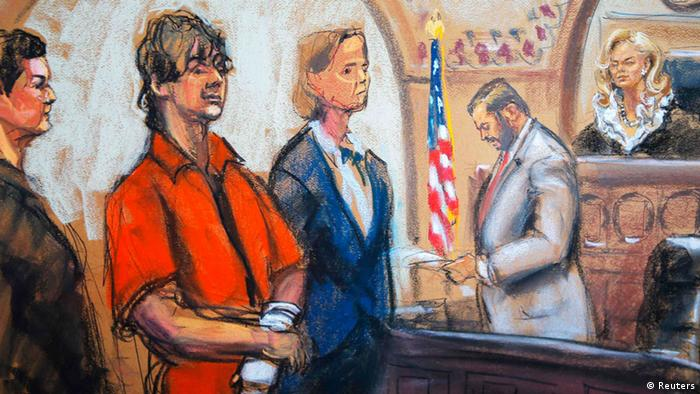 Defense attorneys Miriam Conrad (L) and Judy Clarke (centre) flank Dzhokhar Tsarnaev as Judge Marianne Bowler (R) looks on in court in Boston, Massachusetts in this July 10, 2013 court sketch. Accused Boston Marathon bomber Dzhokhar Tsarnaev made his first court appearance after being charged with killing three marathon spectators on April 15, and later shooting dead a university police officer. REUTERS/Jane Rosenberg (UNITED STATES - Tags: CRIME LAW)