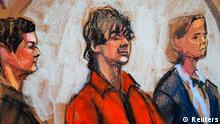 Defense attorneys Miriam Conrad (L) and Judy Clarke (R) flank Dzhokhar Tsarnaev in court in Boston, Massachusetts in this July 10, 2013 court sketch. Accused Boston Marathon bomber Dzhokhar Tsarnaev made his first court appearance after being charged with killing three marathon spectators on April 15, and later shooting dead a university police officer. REUTERS/Jane Rosenberg (UNITED STATES - Tags: CRIME LAW)