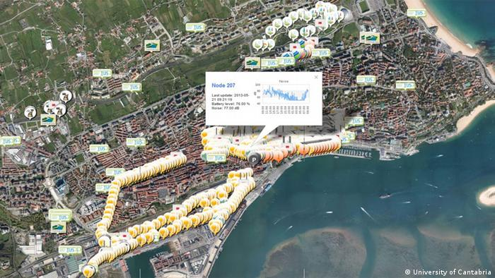 Engineers at Santander's command and control center oversee giant digital maps of the city, overlaid with real-time information coming in from a network of 12,000 sensors embedded across the city. This screenshot of one of the interactive maps displays information on noise pollution in downtown Santander, as well as the location of city buses and available parking spots. (Photo courtesy of the University of Cantabria)
