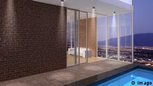 Virtuelle Stadt 3D Illustration Penthouse mit Pool (Imago)