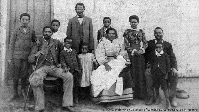 An unknown family photographed c. 1900s in Santu Mofokeng's The Black Photo Album