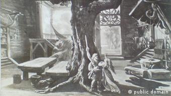 Zeichnung mit überdimensional großen Tische und Bänken - im Vergleich zu zwei Menschen in einer Hütte, durch die ein Baum wächst