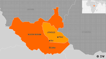 A map showing the position of Jonglei State