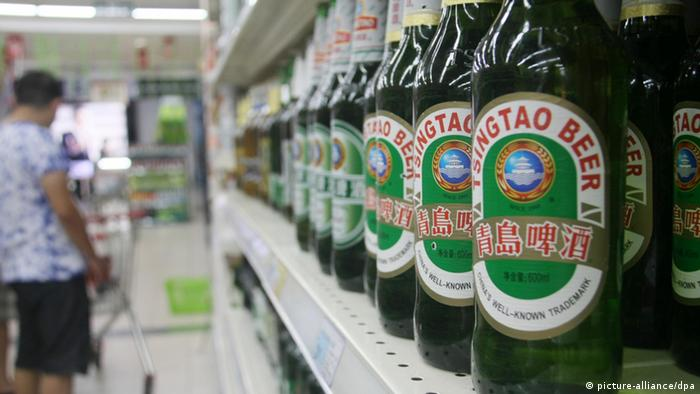 Bottles of Tsingtao Beer at a supermarket in Nantong city, 8 August 2012.