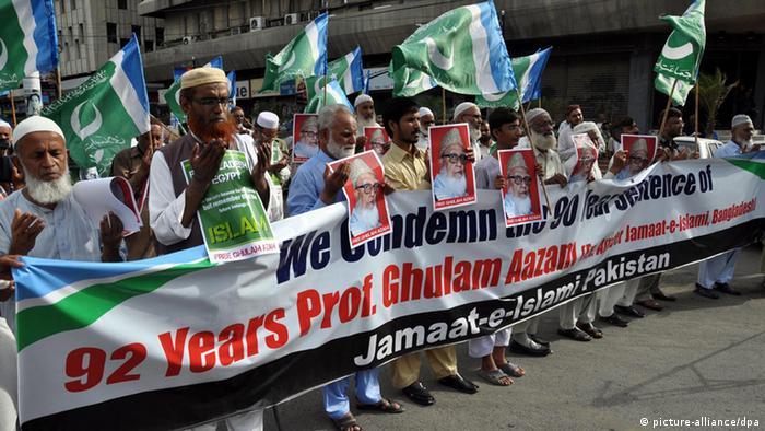 Karachi Proteste nach Ghulam Azam Urteil 15.07.2013