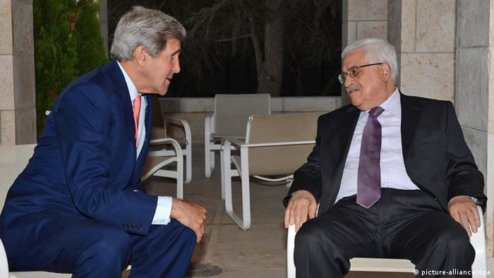 A photograph supplied by the Palestinian Authority shows Palestinian President Mahmoud Abbas (R ) as he meets with US Secretary of State John Kerry in Amman, Jordan, 17 July 2013, on his sixth trip to the region in four months in a bid to revive peace talks between Israel and the Palestinians. Kerry held a five hour meeting with Abbas, but has no plans to meet in Israel with Prime minister Benjamin Netanyahu before returning to Washington. EPA/THAER GANAIM / HANDOUT HANDOUT EDITORIAL USE ONLY/NO SALES