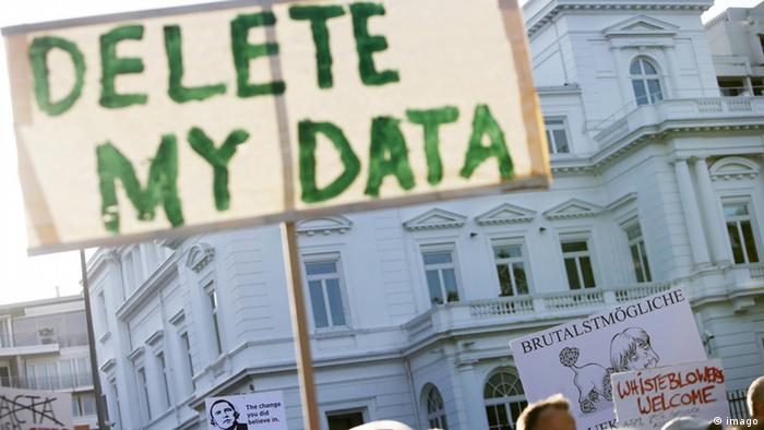 Placard with Delete My Data held up at demonstration