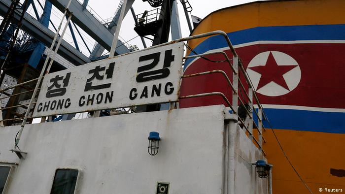 A view from on board North Korean flagged ship Chong Chon Gang docked at the Manzanillo Container Terminal in Colon City REUTERS/Carlos Jasso