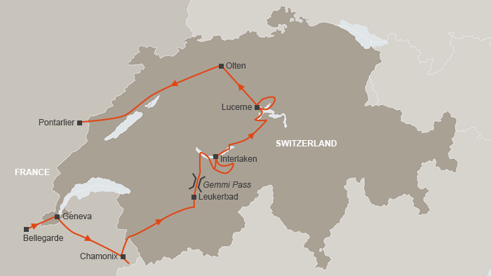 map of Thomas Cook's Swiss Tour of 1863