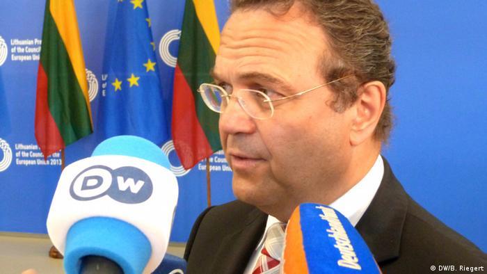 Bundesinnenminister Hans-Peter Friedrich (CSU) beim informellen Treffen der EU-Innenminister in Vilnius, Litauen. Foto: Bernd Riegert, DW