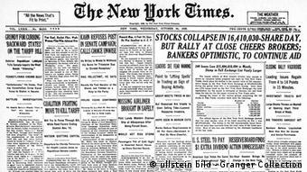 USA Wirtschaft Börsenkrach 1929 Überschrift Zeitung New York Times