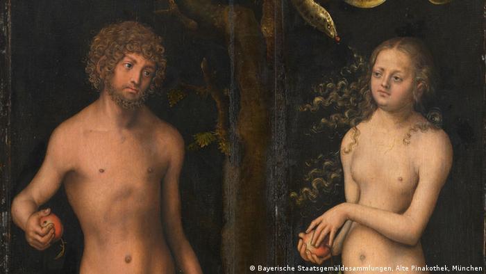Adam und Eva - Gemälde von Lucas Cranach d. Ä. in der Pinakothek München