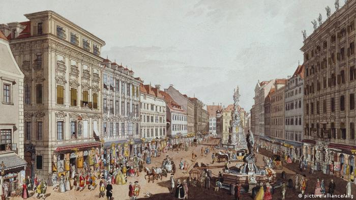 'Ansicht vom Graben gegen den Kohlmarkt in Wien' auf einer historischen kolorierten Radierung des Jahres 1781 von Carl Schütz (Foto: picture-alliance/akg)