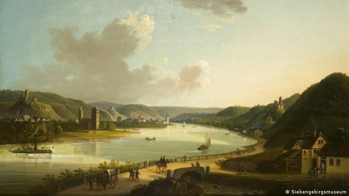 Gemälde von Johannes Jakob Diezler: Niederlahnstein und Kapellen-Stolzenfels (Foto: Siebengebirgsmuseum)