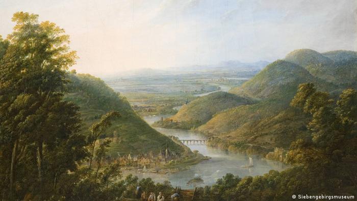 Gemälde von Georg Schneider: Blick vom Niederwald auf Bingen (Foto: Siebengebirgsmuseum)