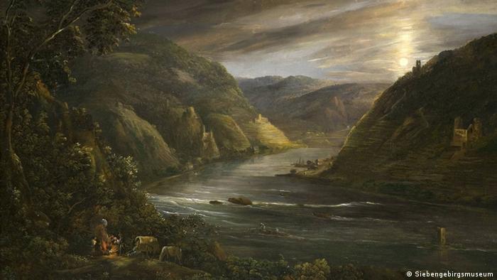 Gemälde von Georg Schneider: Ruine Ehrenfels im Mondschein (Foto: Siebengebirgsmuseum)