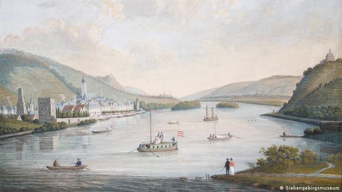 Gemälde von unbekanntem Maler: Blick auf Rüdesheim (Foto: Siebengebirgsmuseum)