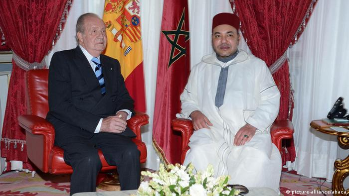 King Mohammed VI of Morocco receives King Juan Carlos of Spain at the Royal Palace in Rabat, Morocco on July 16, 2013. Photo by Balkis Press/ABACAPRESS. COM
