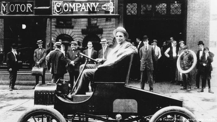 Henry Ford in his latest model (Photo by Keystone Features/Getty Images)