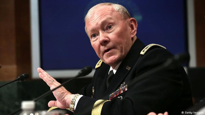 WASHINGTON, DC - JUNE 12: U.S. Chairman of the Joint Chiefs of Staff General Martin Dempsey testifies during a hearing before the Senate Budget Committee June 12, 2013 on Capitol Hill in Washington, DC. The hearing was to examine on President Obama's FY2014 defense budget request, plus topics of discussion including the impact of sequestration and sexual assaults in the military. (Photo by Alex Wong/Getty Images)