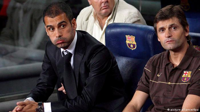 epa03198156 (FILE) A file picture dated 13 August 2008 shows FC Barcelona head coach Josep Guardiola (L) and assistant coach Tito Vilanova (R) watching the UEFA Champions League third qualifying round soccer match against Wisla Krakow at Nou Camp stadium in Barcelona, north-eastern Spain. Guardiola on 27 April 2012 confirmed his decision to step down as coach of Barcelona. Guardiola, 41, took over at Barca in 2008 and guided Lionel Messi and company to the most successful spell in the club's history, winning 13 out of a possible 17 trophies. Guardiola's assistant Tito Vilanova will take over as Barcelona coach next season. EPA/ALBERT OLIVE +++(c) dpa - Bildfunk+++
