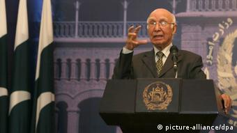 Pakistan National Security and Foreign Affairs Adviser Sartaj Aziz speaks during a press conference with Afghan Foreign Minister Zalmai Rassoul (not pictured) in Kabul, Afghanistan, 21 July 2013 (Photo:EPA/S. SABAWOON)