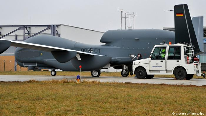 A prototype of the Euro Hawk on 11.01.2013 at the Manching air base in Bavarian during a test flight. (Photo via Jürgen Dannenberg/HSG Zander/dpa)