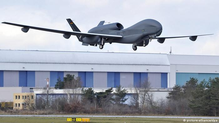FILE - A handout picture provided by Cassidian, the defence and security division of the EADS group, shows Europe's biggest unmannded aerial vehicle (UAV) or drone, Eurohawk, during the start of its first test flight in Manching, Germany, 11 January 2013. EPA/CASSIDIAN