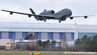 FILE - A handout picture provided by Cassidian, the defence and security division of the EADS group, shows Europe's biggest unmannded aerial vehicle (UAV) or drone, Eurohawk, during the start of its first test flight in Manching, Germany, 11 January 2013. The UAV started its test flight over southern Germany at 10:36 CET and was scheduled to land in the afternoon, announced EADS arms manufacturing company Cassidian. The reconnaissance drone weighs 15 tons and has a 40 m wing span, more than an Airbus A320 passenger jet. The drone is controlled from a ground station in manching. EPA/CASSIDIAN HANDOUT EDITORIAL USE ONLY/NO SALES (zu dpa: Drohnen-Untersuchungsausschuss beginnt Zeugenvernehmung) +++(c) dpa - Bildfunk+++