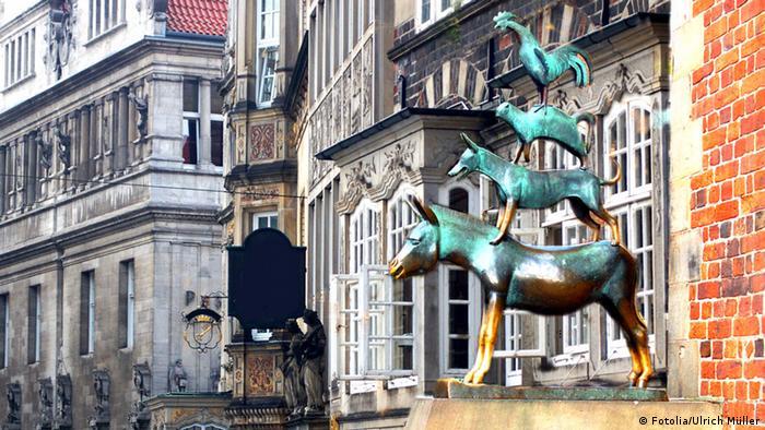 A estátua dos animais músicos em Bremen