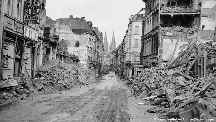 The ruins of the city of Cologne, following heavy bombing by the Allies during World War II, 1945. The city's famous cathedral is visible in the distance. (Photo: Keystone/Hulton Archive/Getty Images)