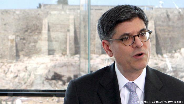 US Treasury Secretary Jack Lew gives a press conference with Greek Prime Minister after a meeting at the new Acropolis Museum in Athens, on July 21, 2013. AFP PHOTO/ POOL / Pantelis Saitas (Photo credit should read PANTELIS SAITAS/AFP/Getty Images)