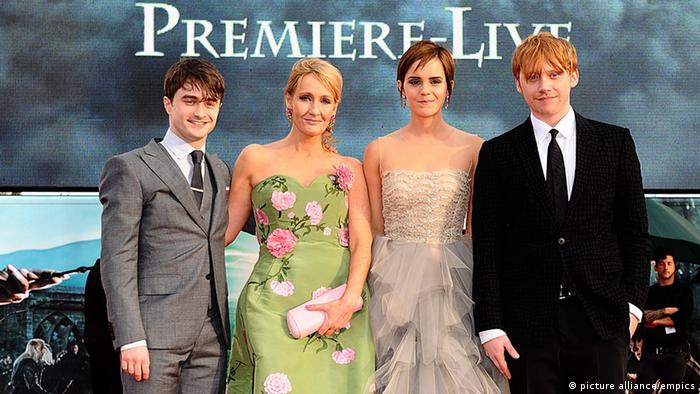 (L-R) Daniel Radcliffe, JK Rowling, Emma Watson and Rupert Grint at the world premiere of Harry Potter And The Deathly Hallows: Part 2. Archive photo from 2011.