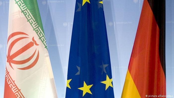 Flaggen Iran & Europa & Deutschland