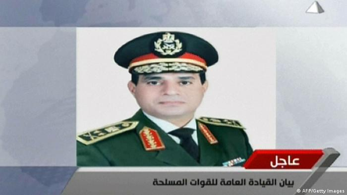 An image grab taken from Egyptian state television Al-Masriya on July 1, 2013 shows an image of Egypt's Defence Minister and armed forces chief General Abdul Fatah Al-Sissi as a statement was read warning that Egypt's armed forces will intervene if the people's demands are not met within 48 hours, after millions took to the streets to demand the resignation of Islamist President Mohamed Morsi. AFP PHOTO / AL-MASRIYA TV == EDITOR'S NOTE - RESTRICTED TO EDITORIAL USE - MANDATORY CREDIT AFP PHOTO / AL-MASRIYA TV - NO MARKETING NO ADVERTISING CAMPAIGNS - DISTRIBUTED AS A SERVICE TO CLIENTS == (Photo credit should read -/AFP/Getty Images)
