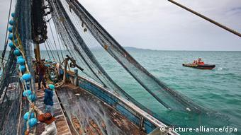 A handout photo made available 19 June 2013 by environment group Greenpeace shows trawl fishermen in their fishing vessel in the Gulf of Thailand (Photo: EPA/ATHIT PERAWONGMETHA/GREENPEACE/HANDOUT)