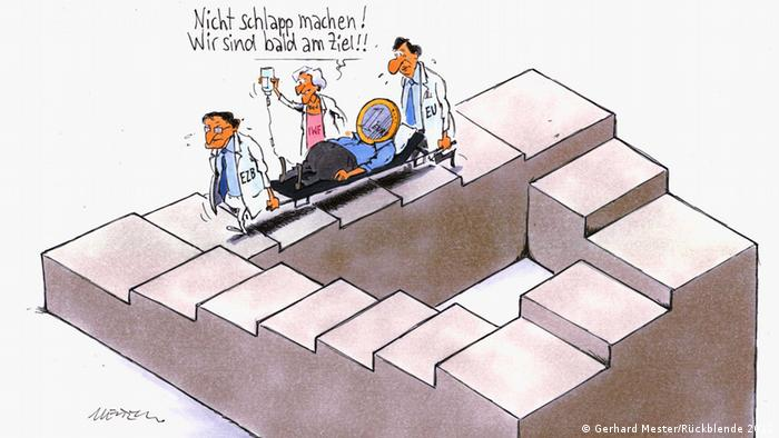 Cartoon by Gerhard Mester, depicting a sick euro coin being carried on a stretcher