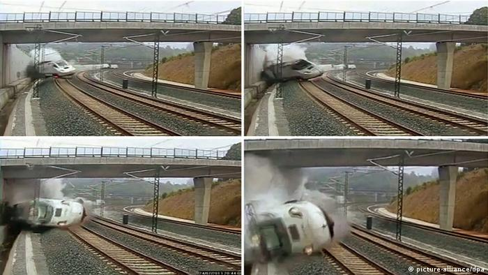 epa03800750 A composite image of CCTV footage made available on 25 July 2013 showing the moment that the train derails outside the north-western Spanish city of Santiago de Compostela. The train was travelling between Madrid and Ferrol when it derrailed while approaching the train station of Santiago de Compostela on 24 July. The death toll in Spain's worst train accident in four decades has risen to 78, with 130 others injured, as investigators focused on whether excessive speed was to blame. EFE/INTERNET EPA/EFE