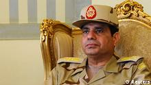 Egypt's Defense Minister Abdel Fattah al-Sisi is seen during a news conference in Cairo on the release of seven members of the Egyptian security forces kidnapped by Islamist militants in Sinai, in this May 22, 2013 file picture. To match Special Report EGYPT-PROTESTS/DOWNFALL REUTERS/Stringer/Files (EGYPT - Tags: MILITARY HEADSHOT POLITICS)