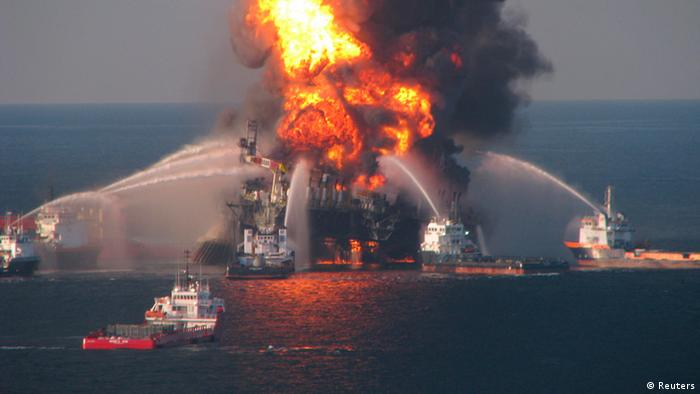 An oil rig on fire