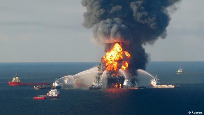 Blazing remnants of the offshore oil rig Deepwater Horizon in April 2010 (Reuters)