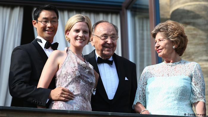 Philipp Roesler, Vice Chancellor and Chairman of the German Free Democrats (FDP) and his wife Wiebke, Hans-Dietrich Genscher and his wife Barbara attend the Bayreuth Festival opening on July 25, 2013 in Bayreuth, Germany. (Photo by Andreas Rentz/Getty Images)