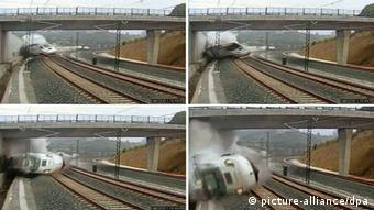 A composite image of CCTV footage showing the moment that the train derails