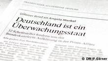 ***Achtung: Nur zur Berichterstattung über diese Aktion verwenden!*** Offener Brief von Kulturschaffenden an Angela Merkel in der FAZ vom 26.7.2013 / DW, Florian Görner