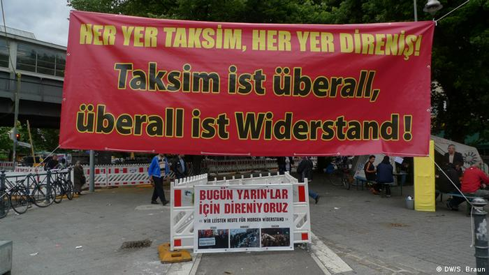Taksim is everywhere, resistance is everywhere reads a sign at a demonstration in Berlin in July 2013