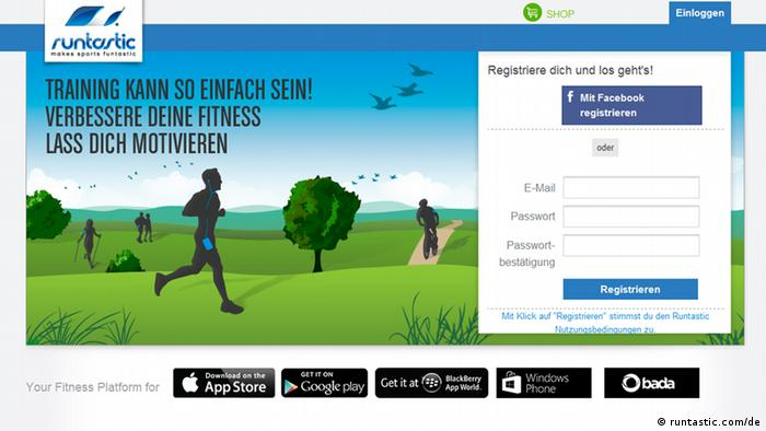 Screenshot der Website runtastic.com