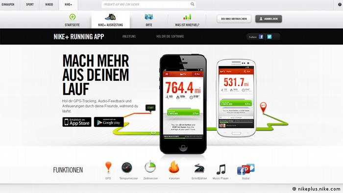 Screenshot der Website nikeplus.nike.com