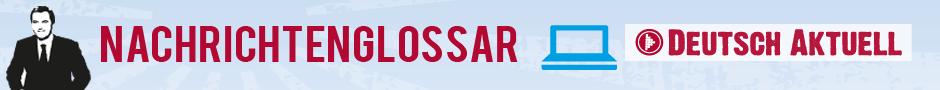 Logo vom Nachrichtenglossar, ein Nachrichtensprecher vor blauem Hintergrund